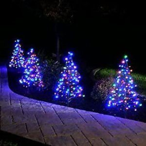 S/2 Pre-Lit LED 3' Fold Flat Christmas Trees